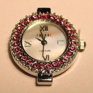 Uhrengehäuse rund silberfarben rosefarbene Strasssteine Ziffernblatt perlmutt