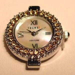 Uhrengehäuse rund silberfarben topazfarbene Strasssteine Ziffernblatt perlmutt