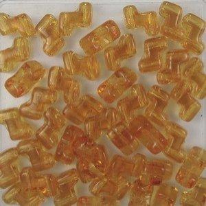 Zwei Loch ZET Beads 5x6mm transparent Topaz ca 60 Stück