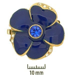 Schmuckverschluss Blüte 31mm Königsblau mit Swarovski Elements Steinen