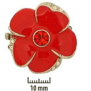 Schmuckverschluss Blüte 31mm Rot mit Swarovski Elements Steinen