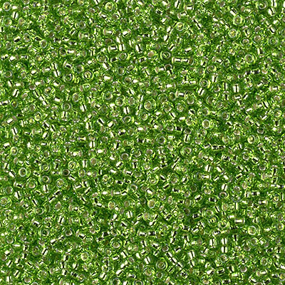 Miyuki Rocailles Beads 1.5mm 2423 silverlined Lime ca 11gr