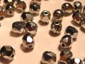 Glasschliffperlen 4mm Silber 100 Stück