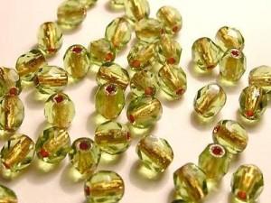 Glasschliffperlen 4mm Olivine 100 Stück