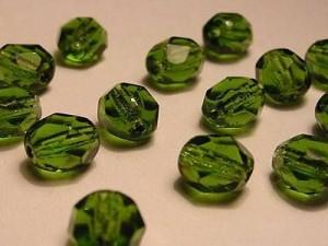 Glasschliffperlen 6mm Olive 50 Stück