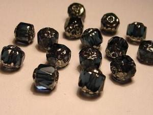 Glasschliffperlen CZ 6mm Sapphire Satin Silberspitze Oblong  Cut 25 Stück