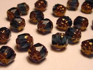 Glasschliffperlen CZ 6mm Sapphire Satin Goldspitze Oblong  Cut 25 Stück