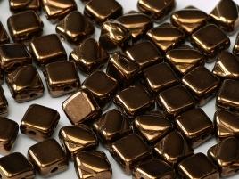 Silky Beads 2-hole 6 x 6 mm Jet Bronze ca 50Stck