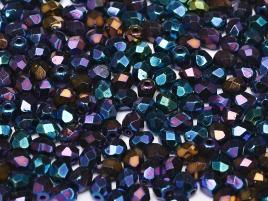 Glasschliffperlen 3mm Jet irisierend Blue 100 Stück