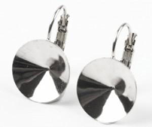 Ohrhakenfassung 14mm 1 Paar ohne Kesselrand versilbert nickelfrei
