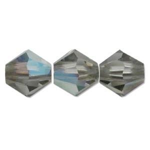 Swarovski Elements Perlen Bicones 4mm Black Diamond AB beschichtet 50 Stück