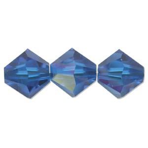 Swarovski Elements Perlen Bicones 4mm Capri Blue AB beschichtet 50 Stück