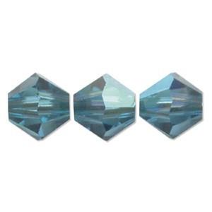 Swarovski Elements Perlen Bicones 4mm Indicolite AB beschichtet 100 Stück