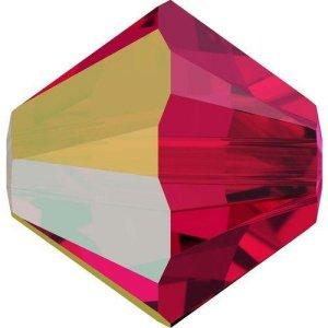 Swarovski Elements Perlen Bicones 3mm Scarlet AB beschichtet 100 Stück
