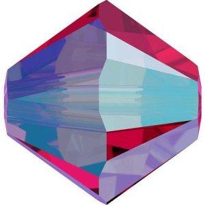 Swarovski Elements Perlen Bicones 3mm Scarlet AB 2X beschichtet 50 Stück