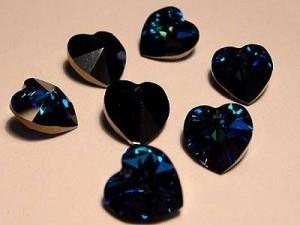 Swarovski Elements Anhänger Herzen 10mm Crystal Bermuda Blue 12 Stck