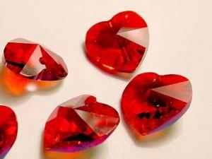 Swarovski Elements Anhänger Herzen 10mm Siam AB beschichtet 12 Stck