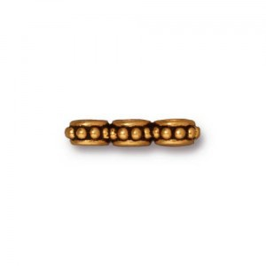 Tierracast 3-fach Spacer  Beaded  vergoldet 1,6mmx0,6mm
