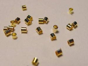Quetschperlen ca 1,5mm, goldfarben, glänzend, ca 100Stück