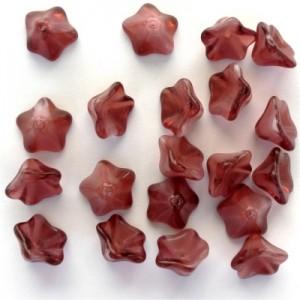 Glasperlen gepresst Blütenkelchgross rosa-rot meliert 13x8mm 20 Stück