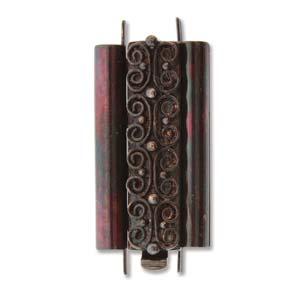 Beadslide Verschluss Squiggle Design Ant. Copper 10x24mm