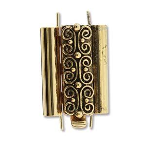 Beadslide Verschluss Squiggle Design Ant. Gold 10x18mm