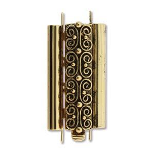Beadslide Verschluss Squiggle Design Ant. Gold 10x24mm