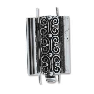 Beadslide Verschluss Squiggle Design Ant. Silver 10x18mm