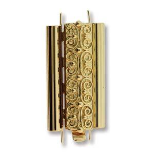 Beadslide Verschluss Squiggle Design gold plated 10x24mm