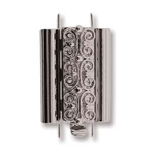Beadslide Verschluss Squiggle Design silver plated 10x18mm