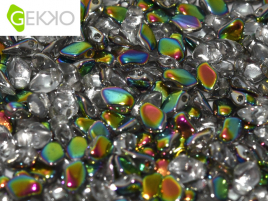 Gekko Beads 3x5mm Crystal Vitrail ca 10 gr