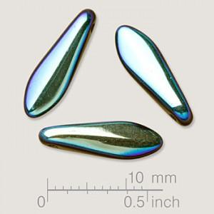 Glasperlen gepresst Dagger Blütenblatt Jet AB Full 5x16mm 25 Stück