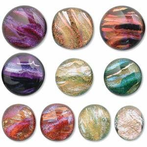 Dichroic Glas Cabochon ca 12-16mm 2 Stück