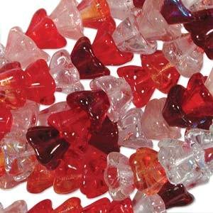 Glasperlen gepresst Blütenkelch 6x8mm MIX05 Strawberry 50 Stück