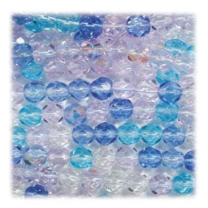 Glasschliffperlen 3mm MIX 100 Stück  Carribean Blue