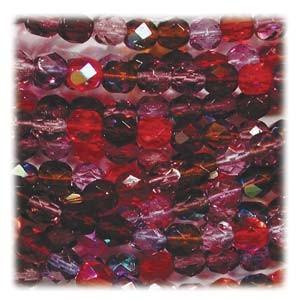Glasschliffperlen 6mm MIX 100 Stück Vineyard