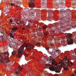 Firepolished Rondelle 3x6mm MIX10 Melonberry 100 Stück