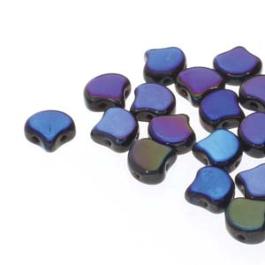 Ginko Beads 8x7mm Jet Full Azuro ca 10gr