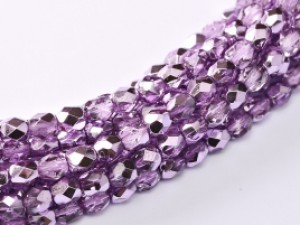 Glasschliffperlen 3mm Crystal Lilac Metallic Ice 100 Stück