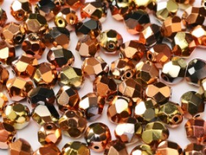 Glasschliffperlen 6mm Jet California Gold Rush 25 Stück