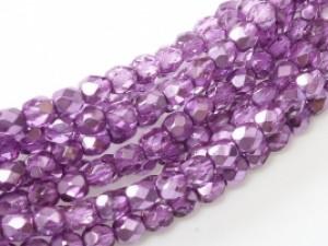 Glasschliffperlen 4mm Crystal Purple Metallic Ice 100 Stück