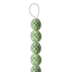 Glasschliffperlen Snake Beads 6mm Lime 1Strang ca 25 Stück