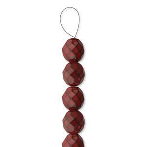 Glasschliffperlen Snake Beads 4mm dark Coral 100 Stück