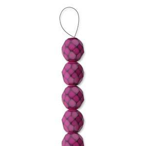 Glasschliffperlen Snake Beads 6mm Fuchsia 1Strang ca 25 Stück