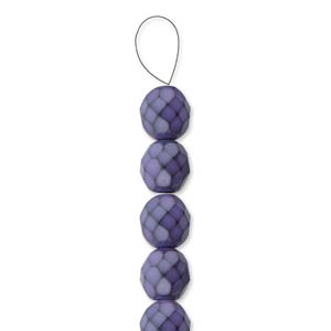 Glasschliffperlen Snake Beads 6mm dark Orchid 1Strang ca 25 Stück