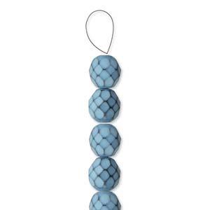 Glasschliffperlen Snake Beads 6mm Placid Blue 1Strang ca 25 Stück