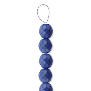Glasschliffperlen Snake Beads 6mm Cobalt Blue 1Strang ca 25 Stück