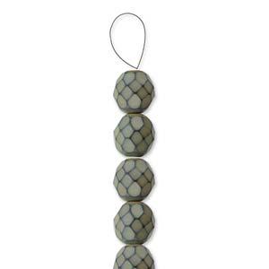 Glasschliffperlen Snake Beads 6mm Sand 1Strang ca 25 Stück