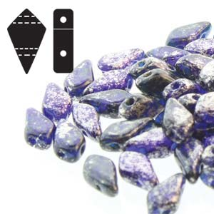 Kite Beads 9x5mm tr Silver Splash Cobalt  ca 10gr