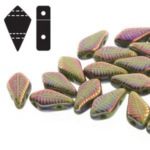 Kite Beads 9x5mm Wasabi Laser  Feather ca 10gr